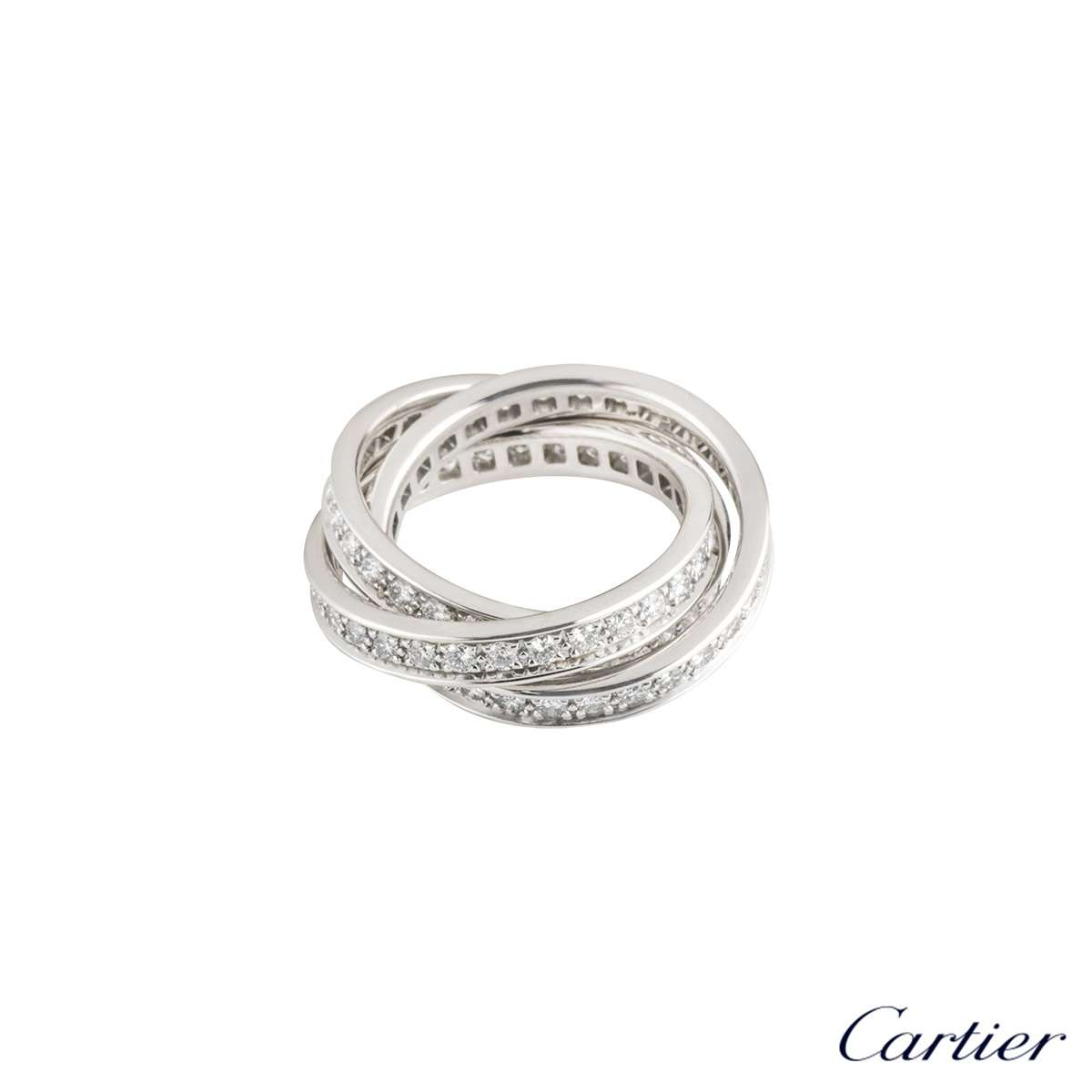 Cartier 18k White Gold Diamond Set Trinity Ring B